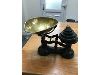 Vintage style cast iron and brass kitchen scales