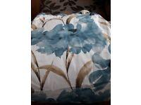 3 pairs 90x90cms teal/blue curtains
