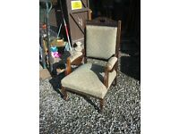 VINTAGE ORNATE EDWARDIAN GREEN CHAIR. WIDE SEATED. LOVELY PIECE. VIEWING/DELIVERY AVAILABLE