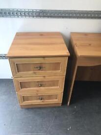 Three draw dressing table + three draw chest of drawers