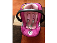 Mamas and Papas CYBEX ATON Q Pink/Purple Baby Car seat/ carrier suitable form birth.