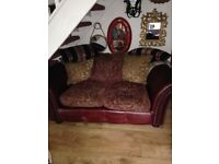 Stunning burgundy leather and tapestry upholstery three/two/one suite in very good condition