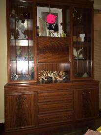 Glass wooden cabinet and drawers