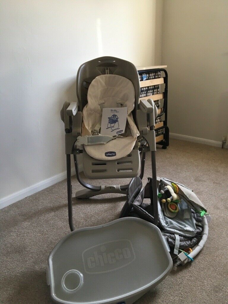 Chico High Chair With Lots Of Accessories Only Used 4 Or 5 Times Plus Red Kite Travel Cot