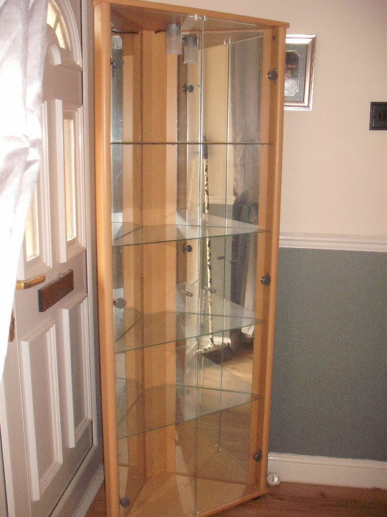 Ikea Tall Corner Display Glass Cabinet With Lights