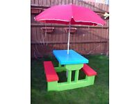 Kids garden furniture, picnic bench with parasol