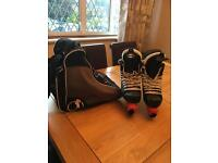 Men's ice hockey skates, bag and blade covers