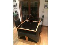 Table Extendable, Black glass & six chars
