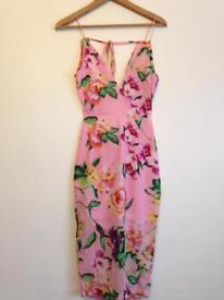 Pink floral tie back midi dress size 6