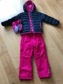 Girls ski outfit - salopettes / jacket and gloves