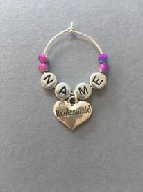 Personalised Bridesmaid Wine Glass Charm