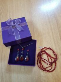 Dark Red Necklace, Earrings and Bracelet