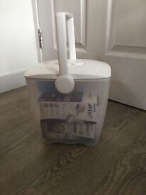 Milton cold water steriliser bucket with bottles and feeding tubs