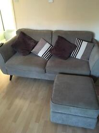 3 seater fabric sofa with foot stool