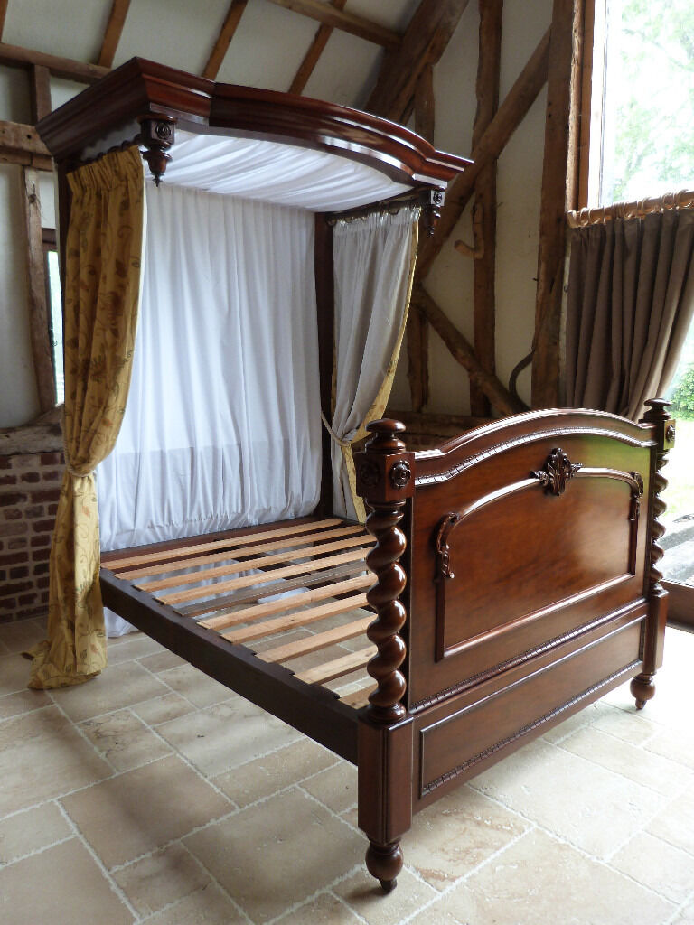 Victorian Mahogany Half Tester King Size 5 Bed With