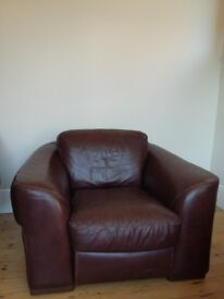 Brown leather super-comfortable large armchair