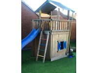 JUNGLY GYM - High quality wooden playhouse, climbing frame with slide, climbing wall and ladder