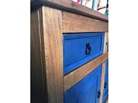 Solid Pine restored 2 door / drawer cabinet