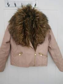 Girls leather faux fur jacket 8-9 years