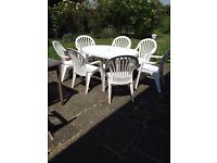 GARDEN FURNITURE TABLE CHAIRS PARASOL