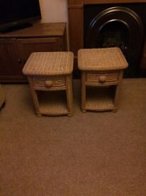 A wicker wardrobe with matching bedside cabinets from a smoke free pet free home