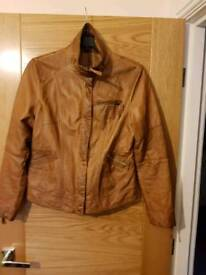 TAN FAUX LEATHER BIKER HIP BOMBER JACKET COAT