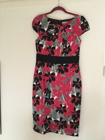 M&S Pink & Black Patterned Dress size 12