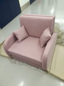 Brand new one seater settee sofa bed pink color spring bed / free delivery