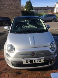 Silver Fiat 500 Lounge 3dr