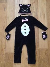 Mamas & Papas black cat Halloween costume 18-24m