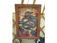 Painting on fabric gorgeous oriental style with wooden intricately caeved frame