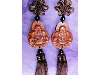 Pair Of Chinese Hand Engraved Rosewood Happy Buddha Lucky Hanging