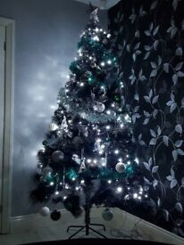 Black with silver glitter tips Xmas tree