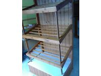 Professionally handmade slatted angled wooden display shelves