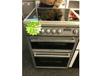 HOTPOINT 60CM ELECTRIC DOUBLE OVEN COOKER IN SILVER