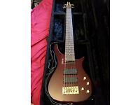Shine 6 String Extreme Bass Guitar - Cherry Ash + Padded Case, Spare Strings, Soapbar pickups