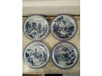 Oriental collectors blue white display plates 4 seasons signed