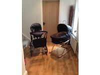 Silver Cross Classic Sleepover Pram complete with Moses basket stand, car seat and change bag, black