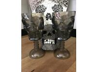 10 x SKULL Smoky Coloured Plastic Wine glass for Halloween