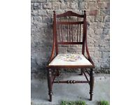 C1910 Mahogany Side Chair Floral Upholstered Seat. Stunning Piece. Excellent Condition !