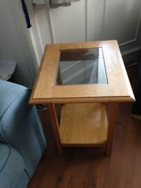 Glass and oak coffee table and side table set- marks and spencers