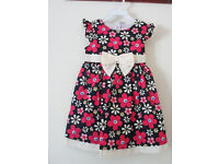 Brand New Girls Dress Navy blue pink flowers