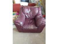 NOW FREE! Leather Armchair w/ottoman