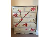 Solid wood decoupage painted 6 drawer chest of drawers