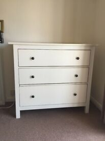 Ikea White HEMNES Chest of 3 Drawers 108 x 96 cm Very Good Condition Delivery Possible