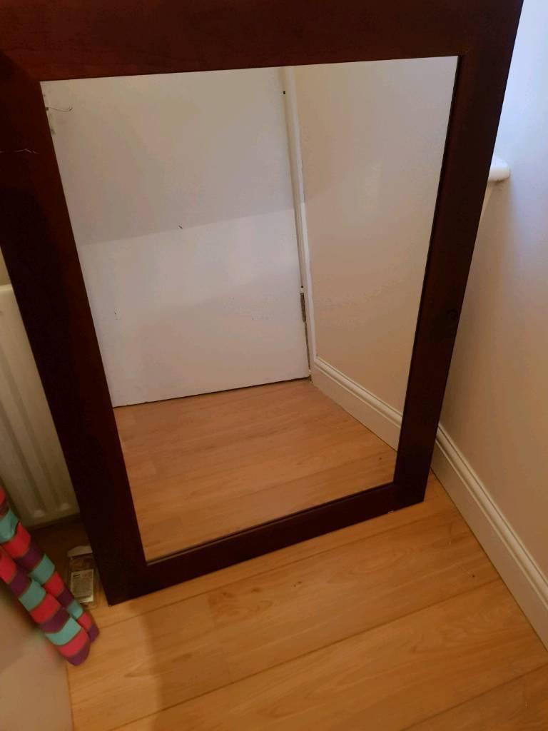 Look Beautiful Big Wall Mirror Solid Wood Frame