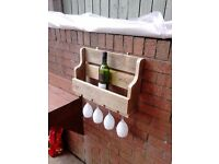 ****NEW RUSTIC WINE RACK**** 6 Bottle 4 glass rack. hand made indoor or out.