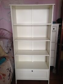 White IKEA bookcase with drawer