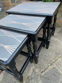 Up cycled nest of three tables