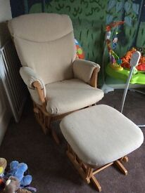 Rocking/Gliding Nursing chair with footstool